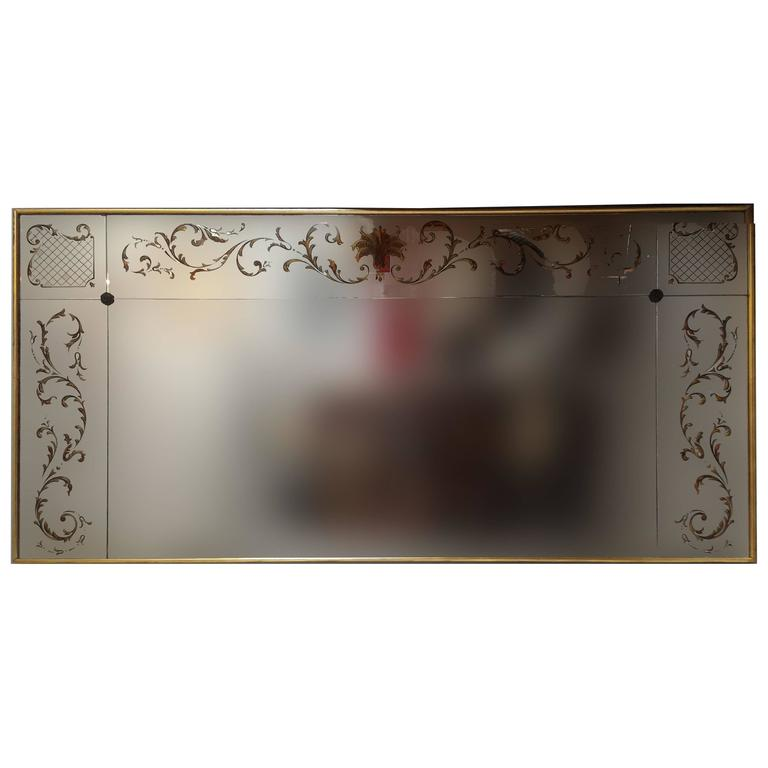 Rare French Églomisé Boutique Large Size Mirror with Gold Leaves