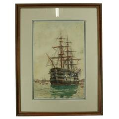 "Antique English Watercolor of Ship ""HMS Victory"" by Charles Brewer, Late 19th C"