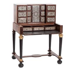 Gorgeous 18th Century Tin Marquetry Writing Desk/ Cabinet
