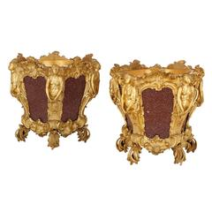Pair of Ormolu and Porphyry Antique French Jardinières