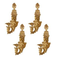 Set of Four Antique Ormolu Wall Lights by Henry Dasson