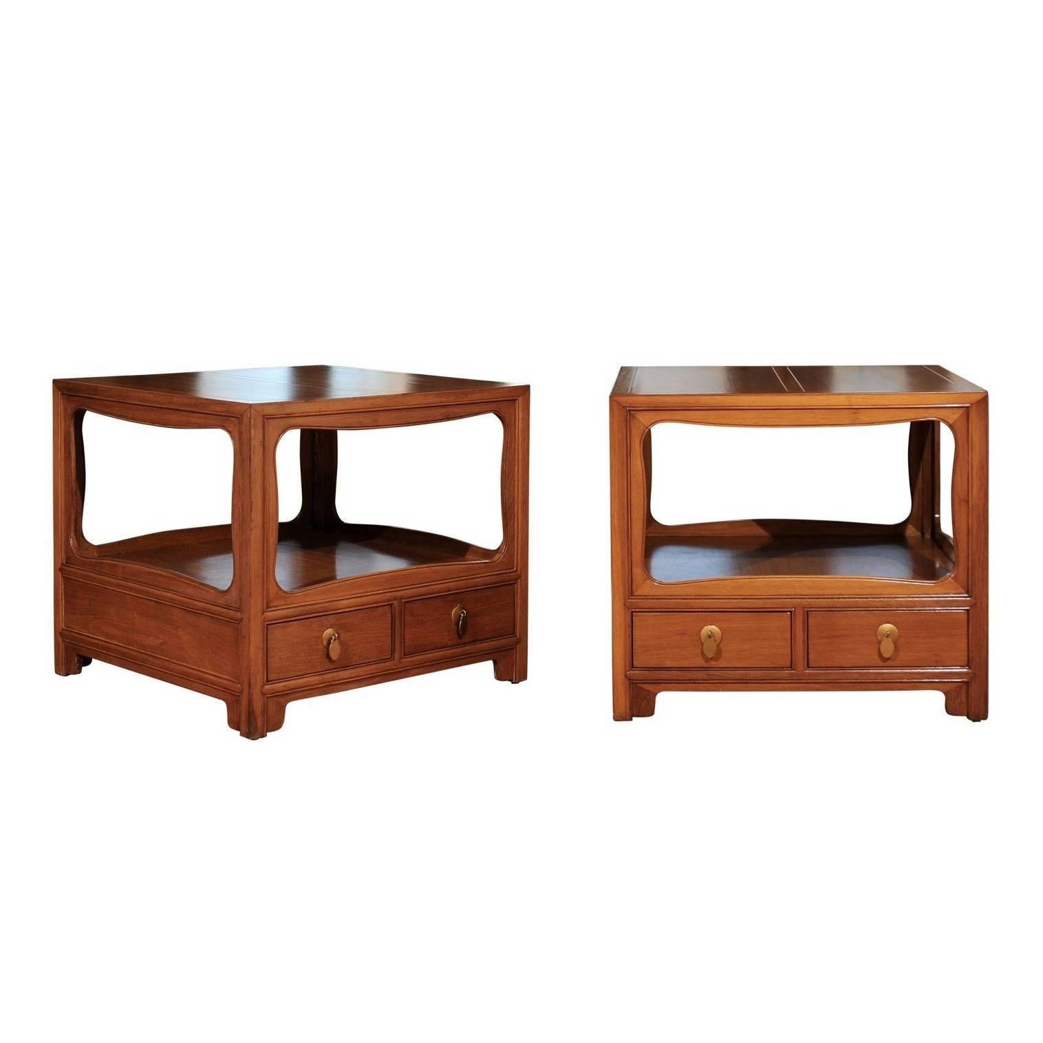 Beautiful Restored Pair of Walnut End Tables by Michael Taylor for Baker