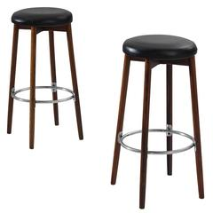 Two Bar Stools in Faux Leather and Rosewood