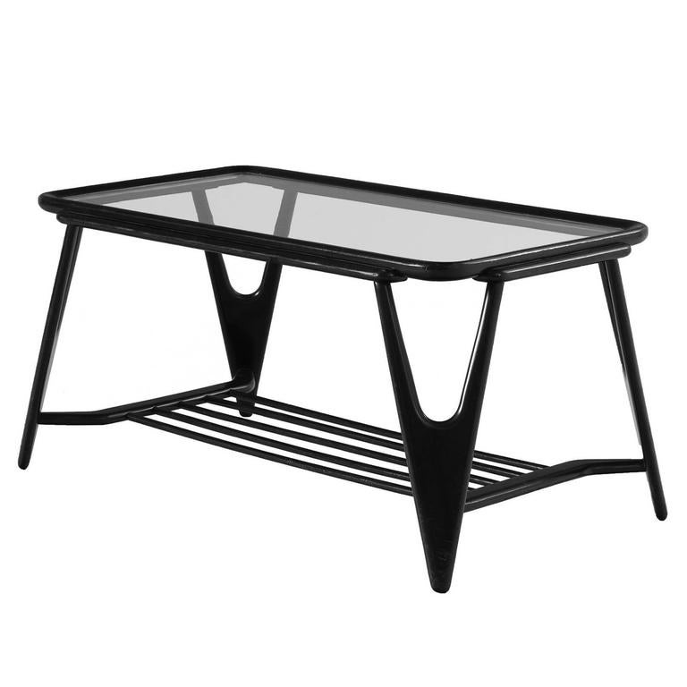 Cesare Lacca Coffee Table In Glass And Stained Oak For Sale At 1stdibs