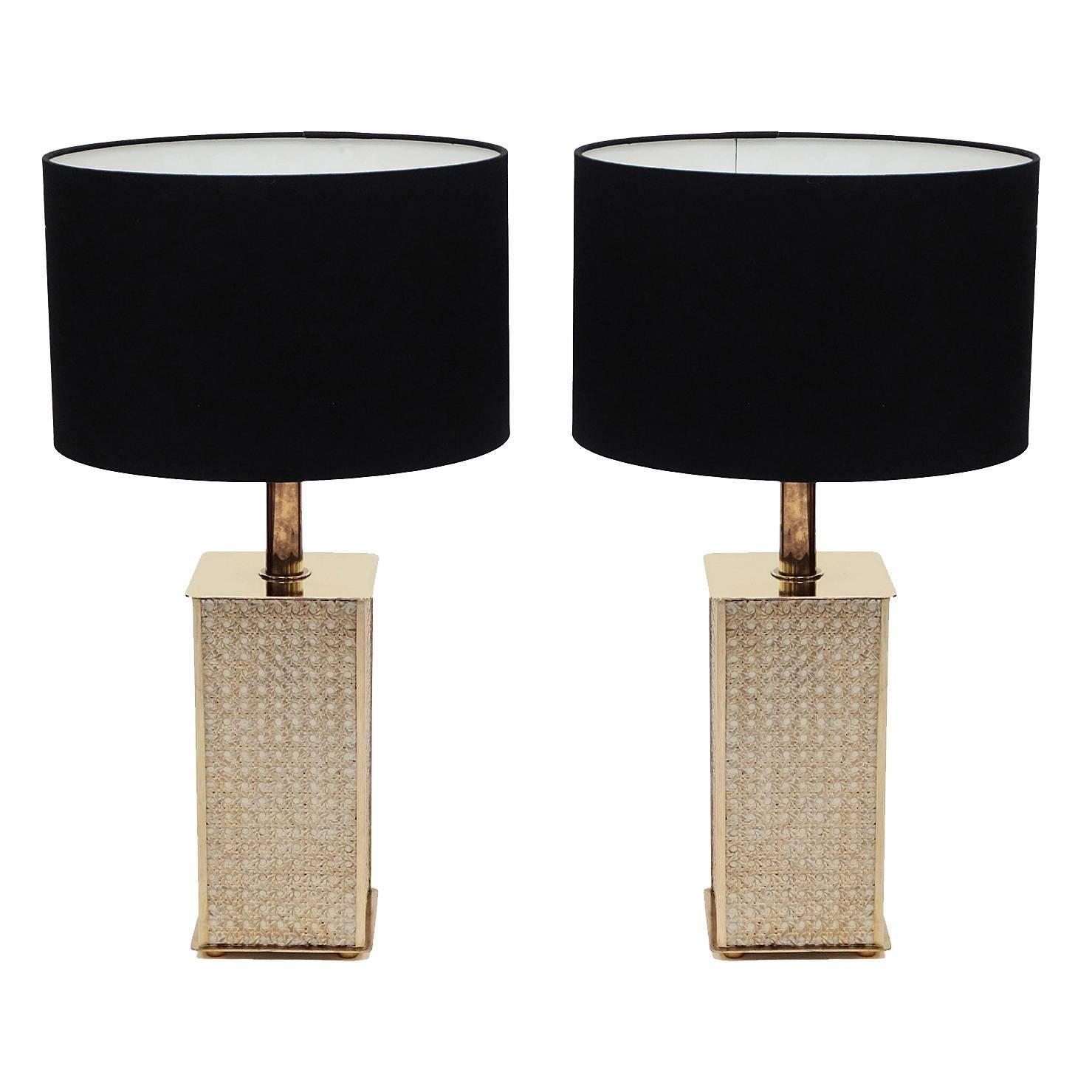 Pair Of 1970S Table Lamps In Black Plexiglas And Brass