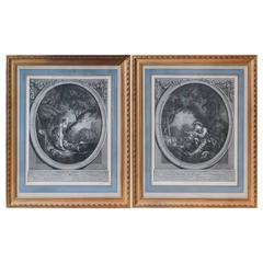 Pair of 18th Century Engravings After Boucher in Modern Gilt Frames