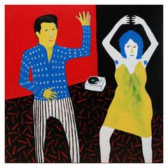 'Cutting Some Rug' Portrait Painting by Alan Fears Folk Art