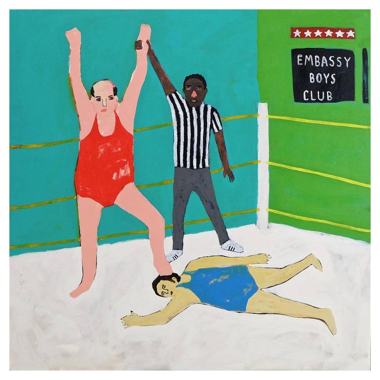 'Winning Is for Losers' Portrait Painting by Alan Fears Folk Art For Sale