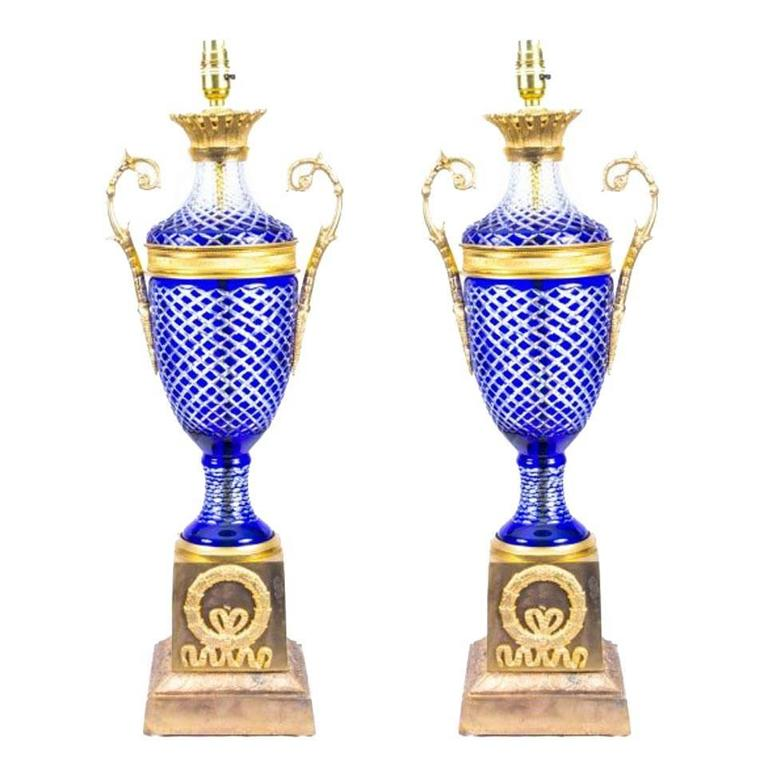Pair of Blue Cut-Glass and Ormolu Empire Style Lamps Wired