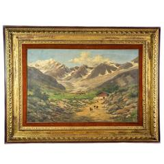 Large Alps Mountain Landscape Painting by Silvio Poma, 1910, oil on canvas