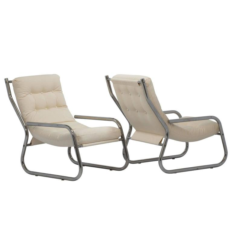 Mid-Century Sling Lounge Chairs Pair in Tubular Chrome with New Fabric 1