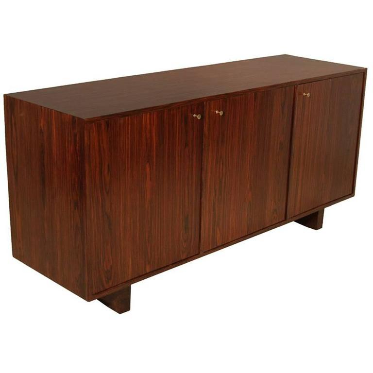 Vintage Mid-Century Brazilian Rosewood Credenza with Brass Pulls