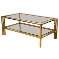 1970s French Brass and Chrome Rectangular Cocktail Table