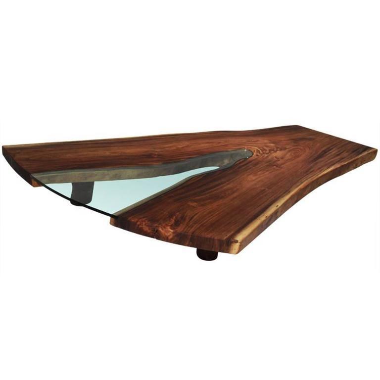 Live Edge Coffee Table Amazon: Massive Live Edge Solid Tamboril Slab And Glass Coffee