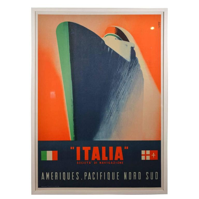 Scarce Streamline Original Italian Cruise-Line Litho Ship Poster