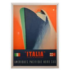 Scarce Streamline Original Italian Cruise-Line Litho Ship Poster