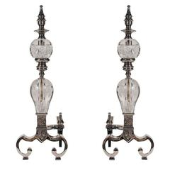 Pair of Art Deco Polished Nickel and Glass Andirons