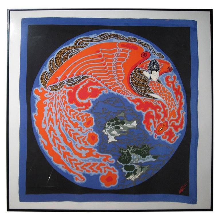 Erte Signed, 1980s Four Framed Silk Scarves