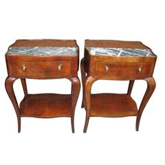 Pair of Wood and Marble End Tables, Nightstands
