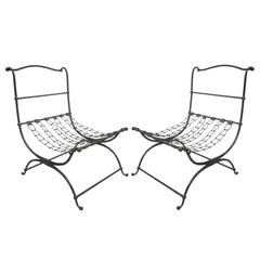 Important Pair of Hammered Iron and Chain Lounge Chairs by Jean-Charles Moreux