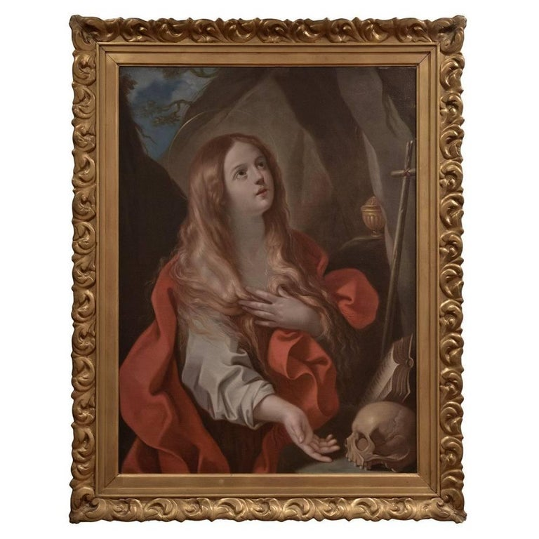 Penitent Mary Magdalene by 17th Century Italian Painter Francesco Gessi For Sale