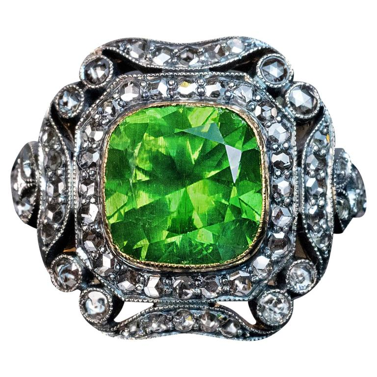 Rare 4 Carat Russian Demantoid Silver Gold Engagement Ring For Sale
