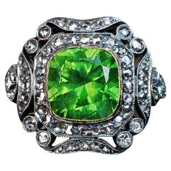 Rare 4 Carat Russian Demantoid Silver Gold Engagement Ring