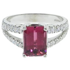 Pink Tourmaline Diamond gold Ring
