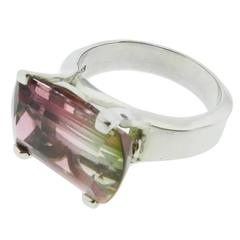 Two Color Tourmaline platinum Cocktail Ring