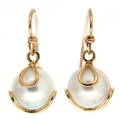 Carina Fresh Water Pearl Gold French Wire Earrings