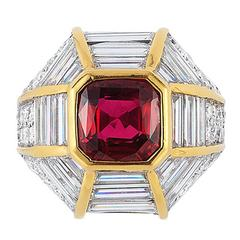 Retro Ruby Diamond Gold Cocktail Ring