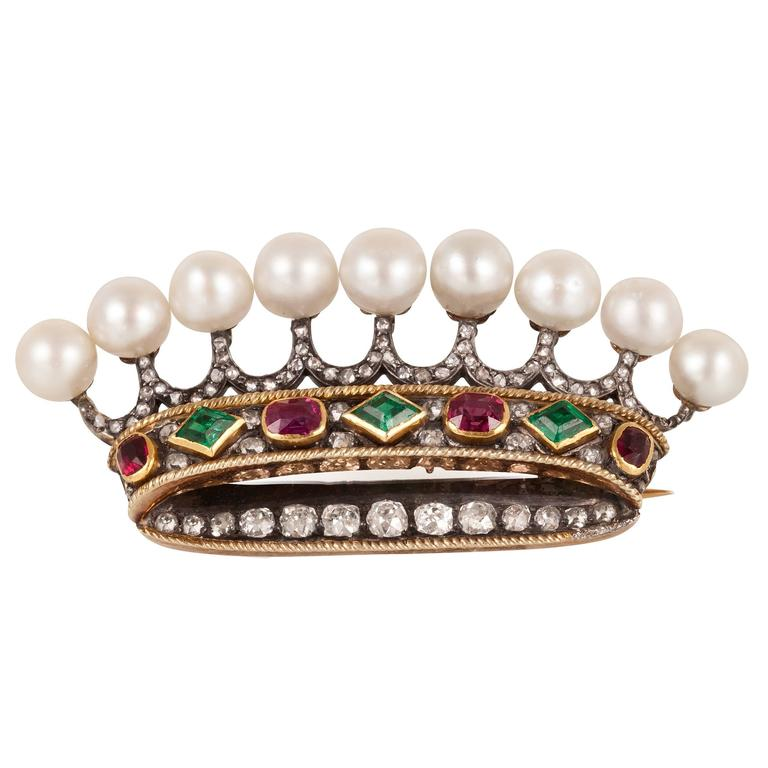 Natural Pearl Emerald Ruby Diamond Gold Crown Brooch