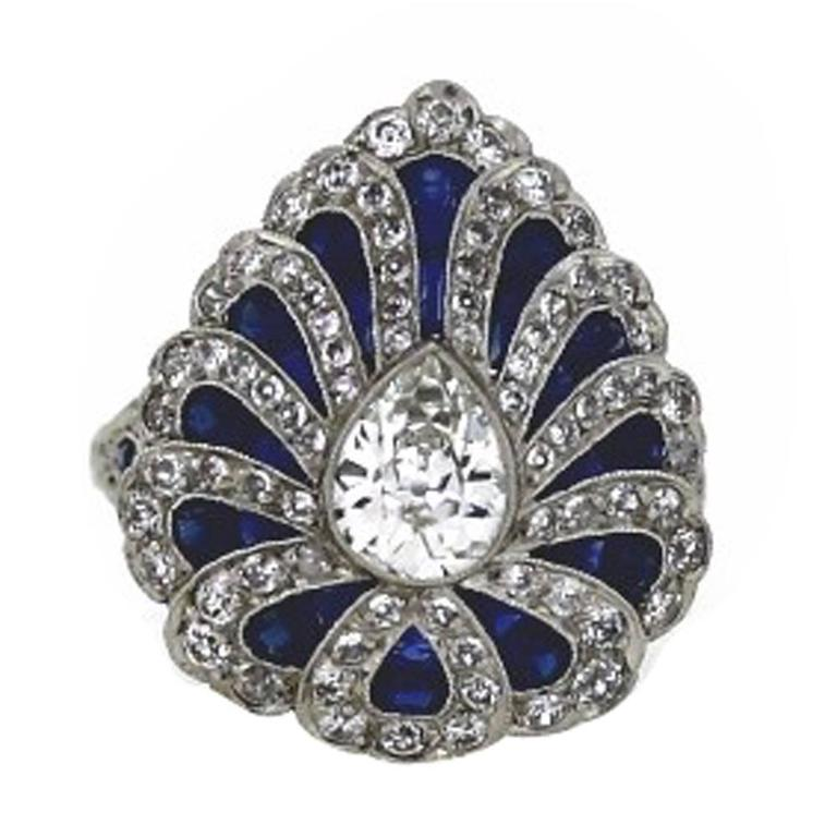 Art Deco Style Sapphire Diamond Platinum Ring 1