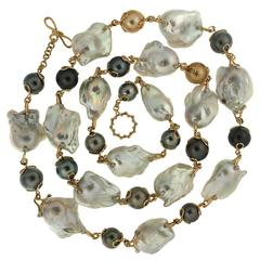 Baroque Freshwater Pearl Round Tahitian Pearl Diamond Gold Necklace