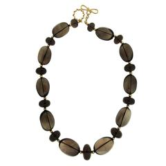 Smokey Quartz Gold Balls Necklace