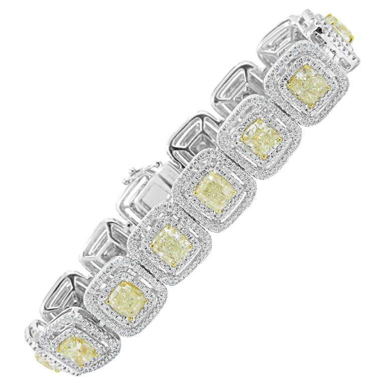 18.10ctw Diamond and Fancy Yellow Diamond Tennis Bracelet