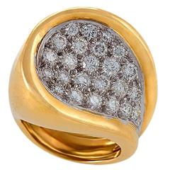 Kutchinsky London 1970s Diamond Gold Platinum Ring