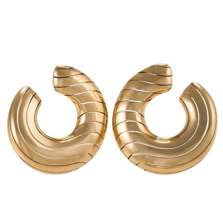 Cartier Paris 1980's Gold Hoop Earrings