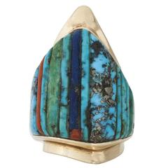 Charles Loloma Inlaid Turquoise Gold Ring