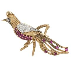 Peacock Bird Antique 14k Gold Ruby and Diamond Brooch Pin 1960