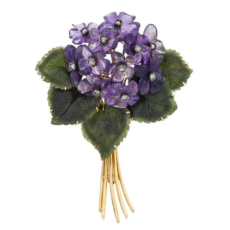 Jade Amethyst Diamond Gold Floral Pin 1
