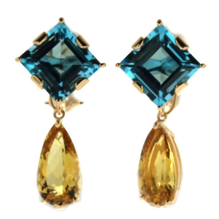 Valentin Magro Blue Topaz Citrine Yellow Gold Earrings
