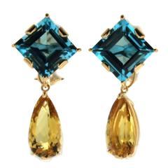 Blue Topaz Citrine Yellow Gold Earrings