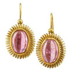 Michael B Pink Tourmaline Gold Drop Earrings