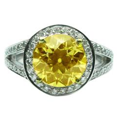 2.44 Carat Natural Fancy Yellow Diamond Frame Ring