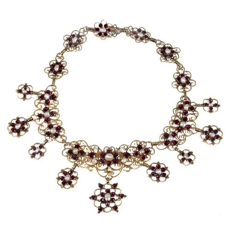 Antique 18th Century Pearl Garnet Gold Necklace