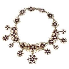 Antique 18th Century Pearl Garnet Gold Necklace