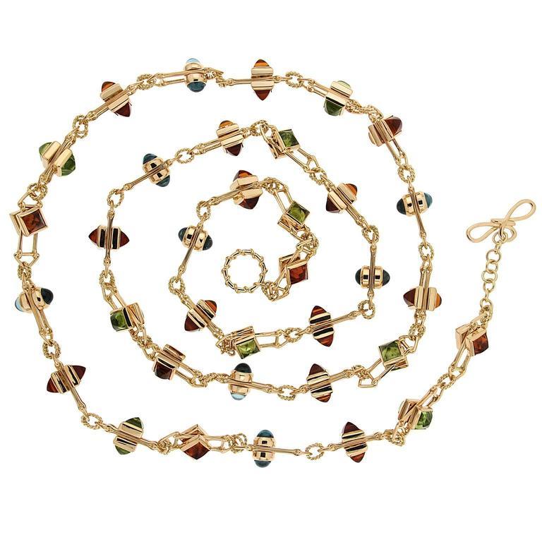 Peridot Blue Topaz Citrine Floating Stone Necklace 1