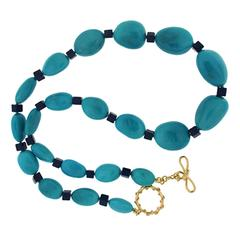 Sleeping Beauty Turquoise Nugget Lapis Cube Gold Necklace