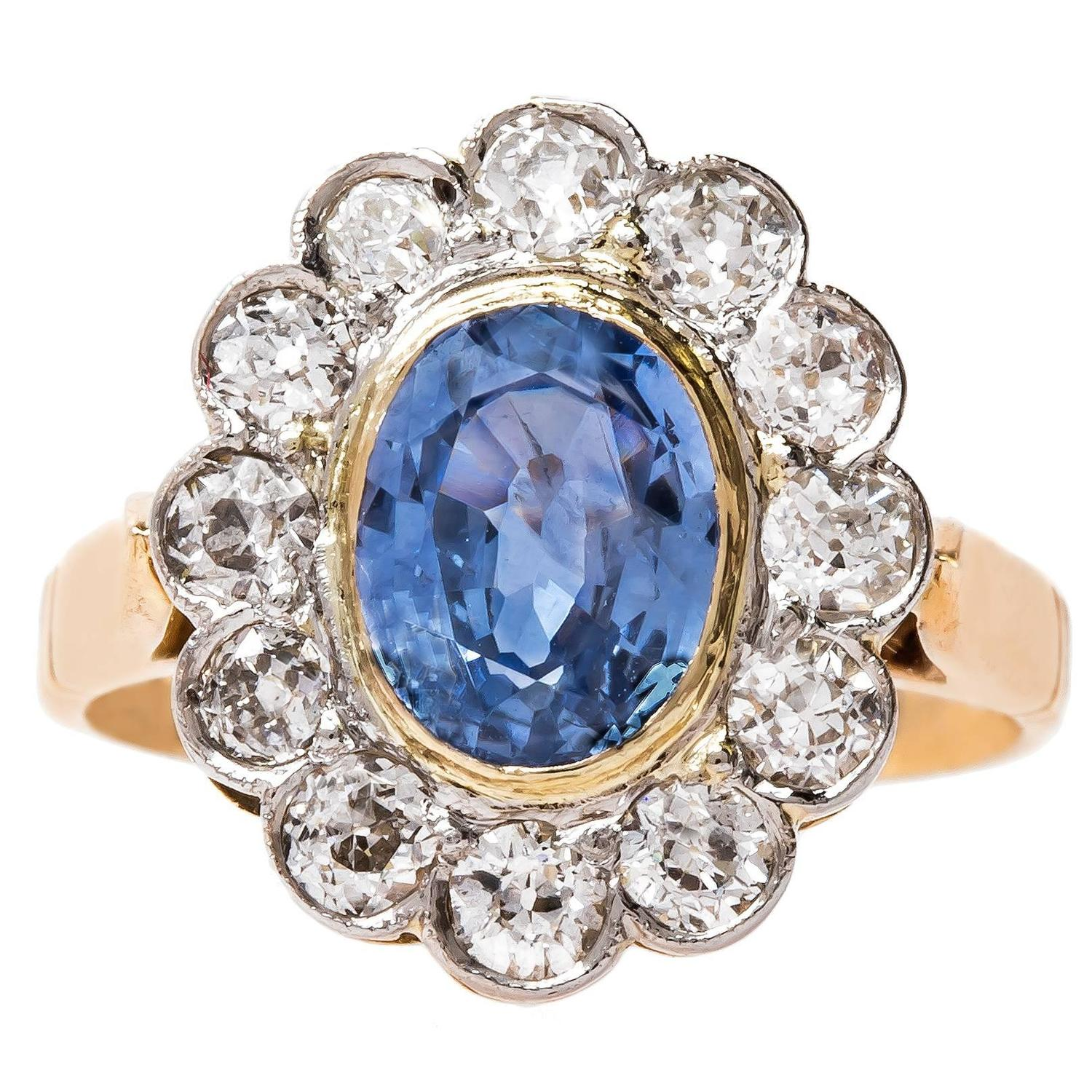 Allure Late Art Deco Engagement Ring with Light Blue Ceylon Sapphire at 1stdibs